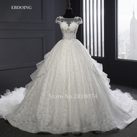 Real Photo Robe De Mariage Wedding Dresses 2018 A Line Lace Beaded Scoop Neckline Custom Made