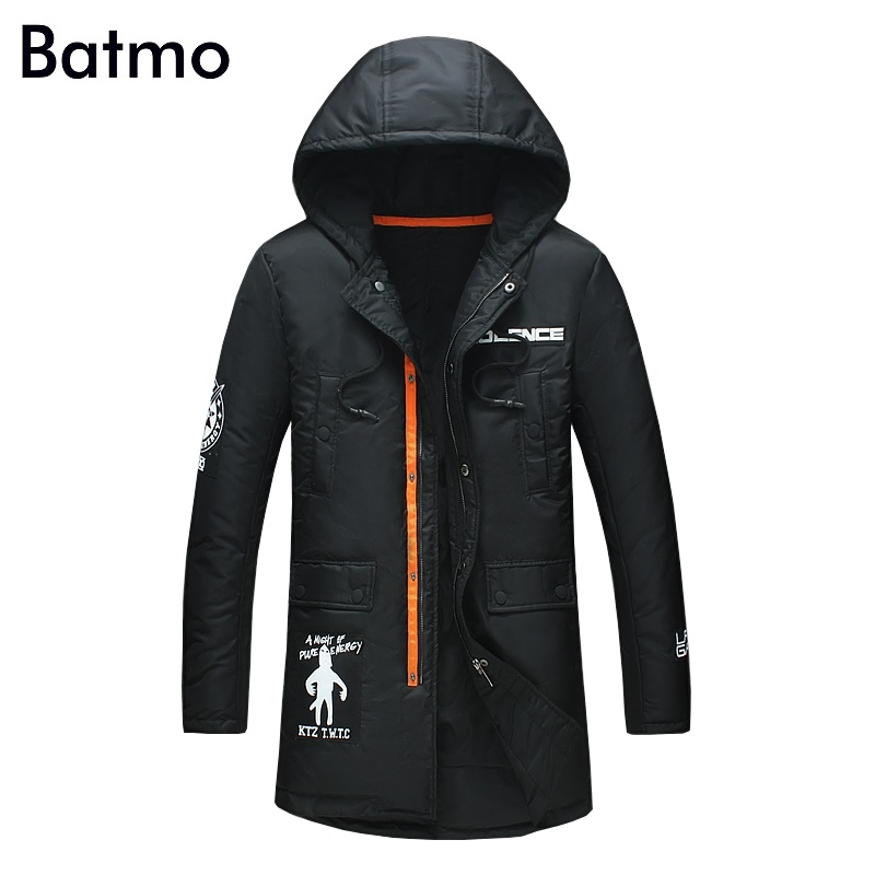 Batmo 2017 new arrival winter high quality 95% white duck down casual black hooded jacket men,winter mens coat plus-size ,16132