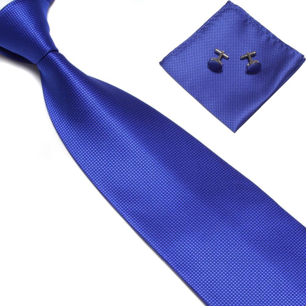 Men Tie sets cufflinks Mariage Mens Ties Fashion accessories 2019 Gravata Work black Blue Red Wedding ties Pocket Handkerchief