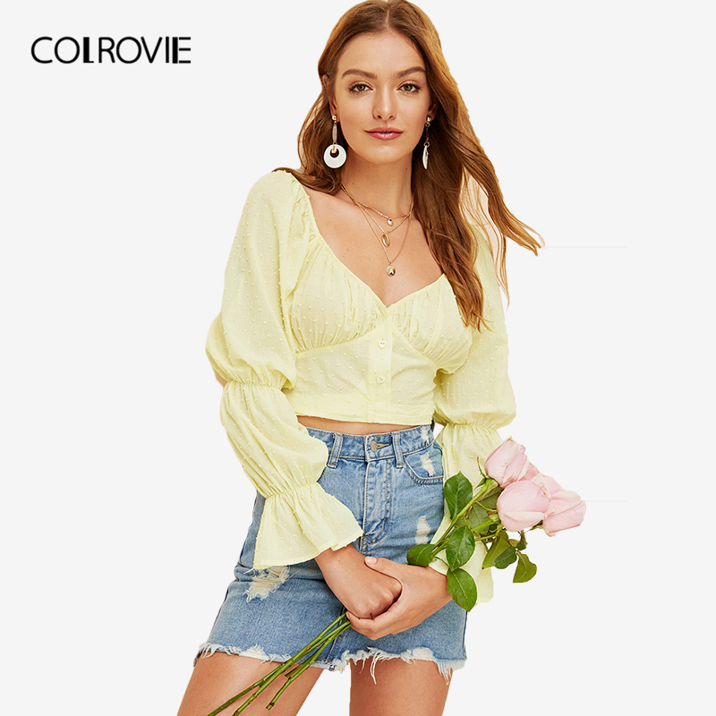 COLROVIE Yellow Gathered Sleeve Knot Back Korean Style Jacquard Crop Top Women   Blouse     Shirt   2019 Spring Ruffle Knot Ladies Tops