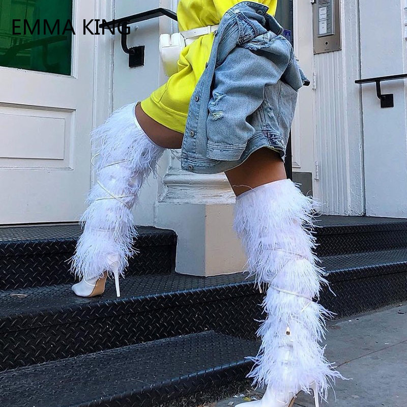 Fashion White Feather Tassel Lace Up Thigh High Boots Pointed Toe High Heels Runway Shoes Designer Long Boots Women 2018Fashion White Feather Tassel Lace Up Thigh High Boots Pointed Toe High Heels Runway Shoes Designer Long Boots Women 2018