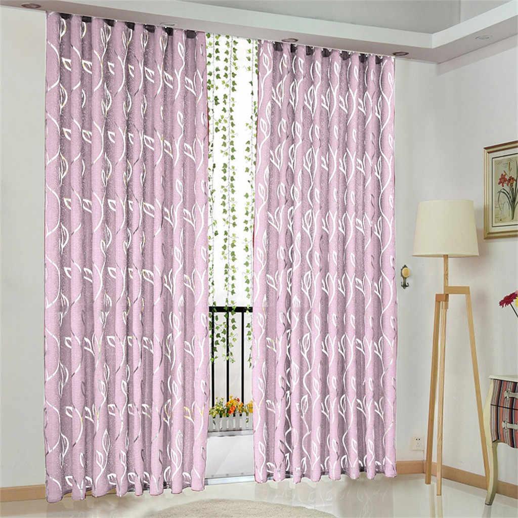 1 pieces vignes feuilles rideaux pour salon porte fenetre rideau drape panneau pure echarpe cantonnieres voilage blanc fenetre 3