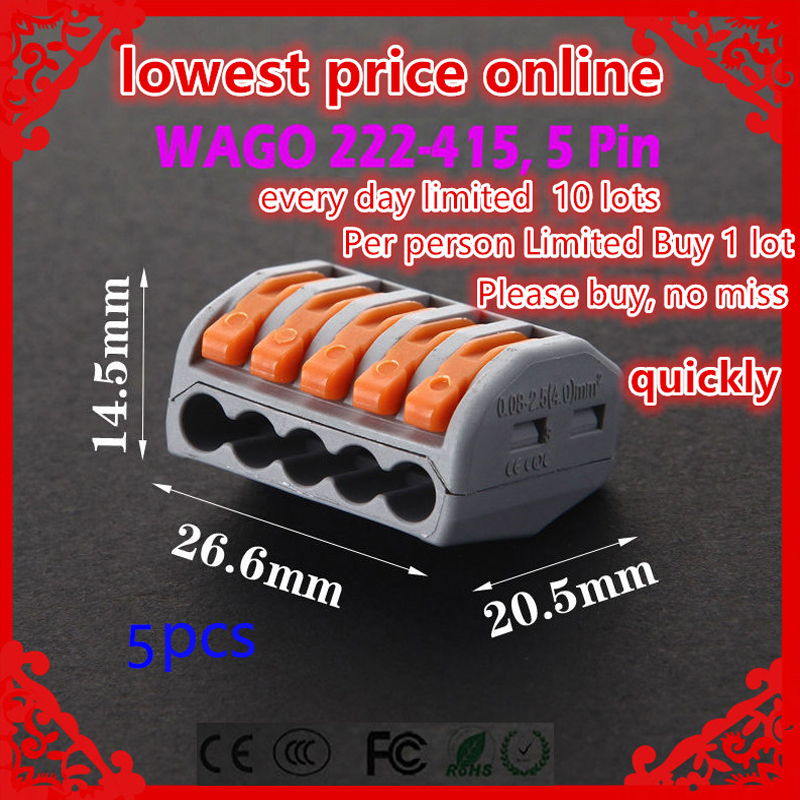 Limited special promotions 5 pcs lot WAGO 222 415 PCT215 Compact Wire Wiring Connector 5 pin