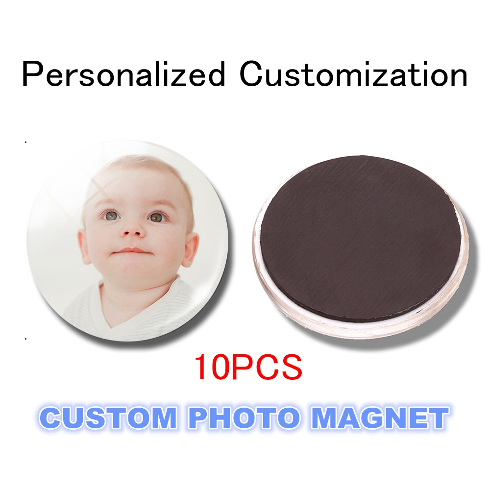 10pcs Personal Custom 30MM Fridge Magnet Photo Of Your Lovers Baby Kids Family Glass Magnetic Refrigerator Stickers Holder Decor