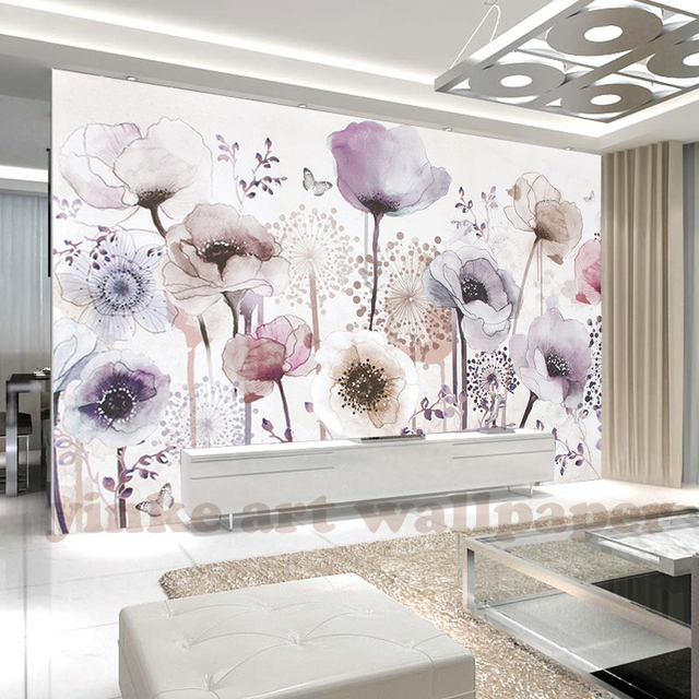 Custom Mural Wallpaper Fashion Watercolour Hand Paint Style Mauve Flower For Wall Elders