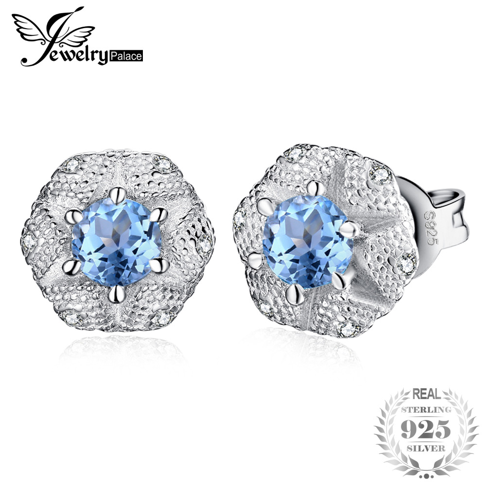 JewelryPalace 0.6ct Genuine Sky Blue Topaz Cubic Zirconia Blossom Flower Stud Earrings For Women 925 Sterling Silver 2019 TrendyJewelryPalace 0.6ct Genuine Sky Blue Topaz Cubic Zirconia Blossom Flower Stud Earrings For Women 925 Sterling Silver 2019 Trendy