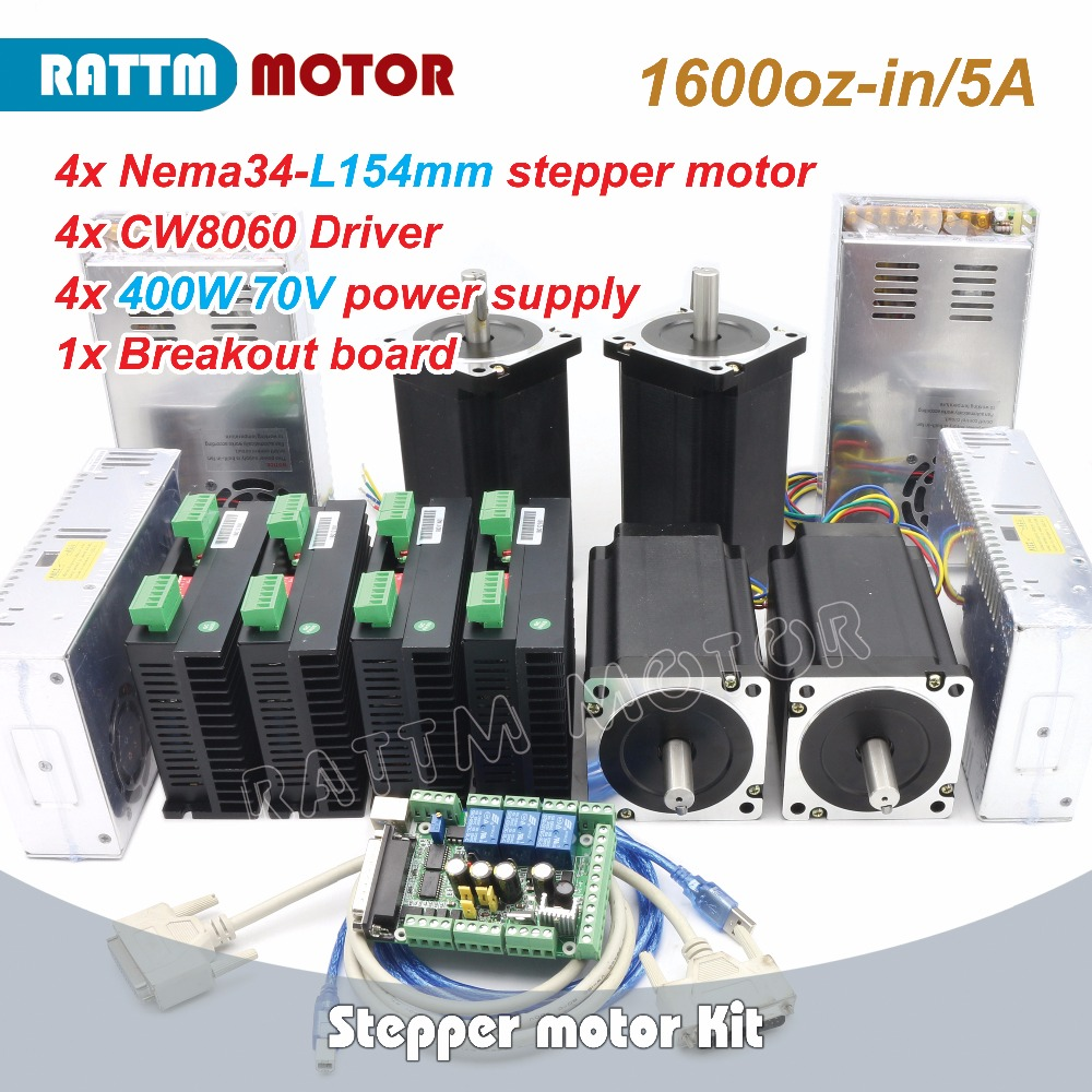 RUS/ EU Delivery! 4Axis Nema34 CNC Stepper Motor (Dual shaft)154mm/5.0A /1600oz-in & Driver 6A/80VDC 256 Microstep &Power spuuly