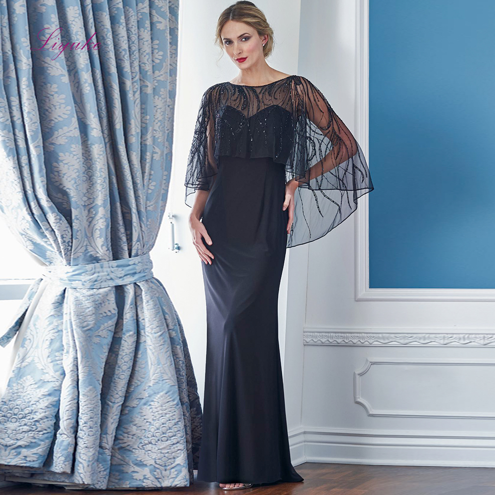 Liyuke 2019 Mother Of The Bride Dresses Sheath Chiffon Sleeveless With Lace Beading Jacket Long Elegant Mother Dresses Wedding