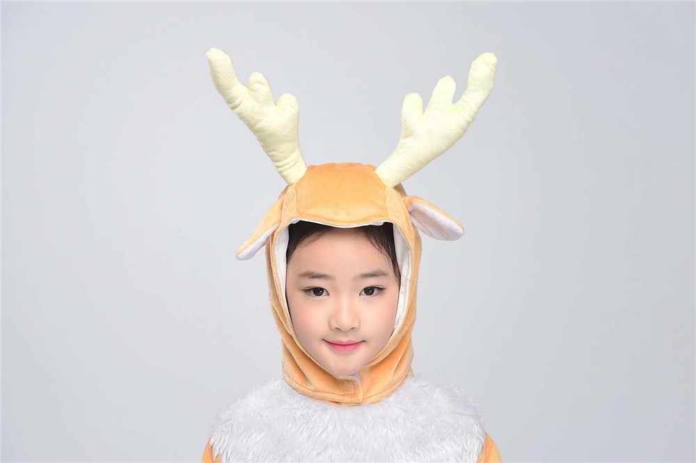 071f67102e17 ... Kids Deer Costume Little Elk Animal Onesies Fancy Dress Jumpsuit with  Headwear Gloves Toddlers Children Carnival ...