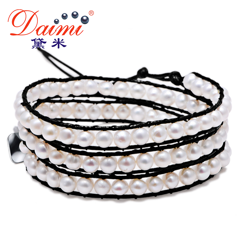 DAIMI 2016 Trendy 5-6 mm Natural Pearl Bracelets Black Rope Chain For Lady Summer trendy sports armband for iphone 5 black