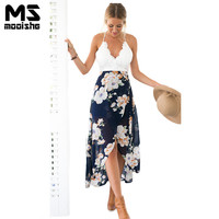 Mooishe Summer Beach Women Dress Floral Print Lace Strapless Backless Patchwork Split Chiffon Women Dress