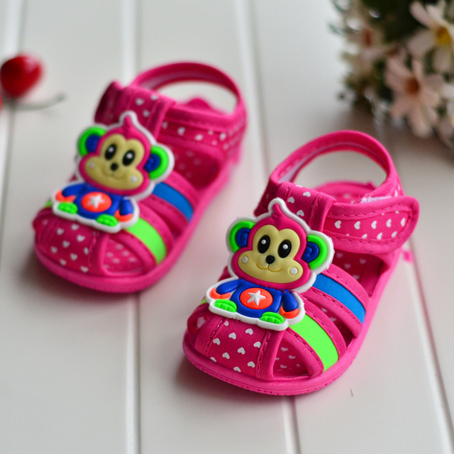 B&D 0/1/2 Years Baby Summer Shoes Boys Animal First Walkers Toddler Newborn Girl Shoes With Sound Canvas Dot Shoes Little Kids