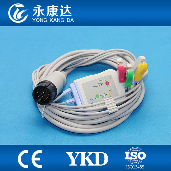 3pcs/pack Nihon Kohden 11pin Plug One piece 3 lead ECG Cable and ...