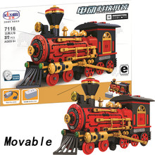 Movable legoing Technic Classic Train Vehicle With Motor Battery Box 372pcs Building Blocks Bricks DIY Toys for Children Gift(China)