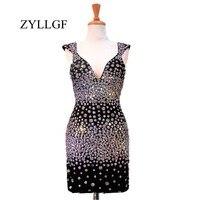 ZYLLGF блестящие Для женщин матери платье оболочка с v образным вырезом со стразами черные короткие Свадебная вечеринка платье 2018 RS87