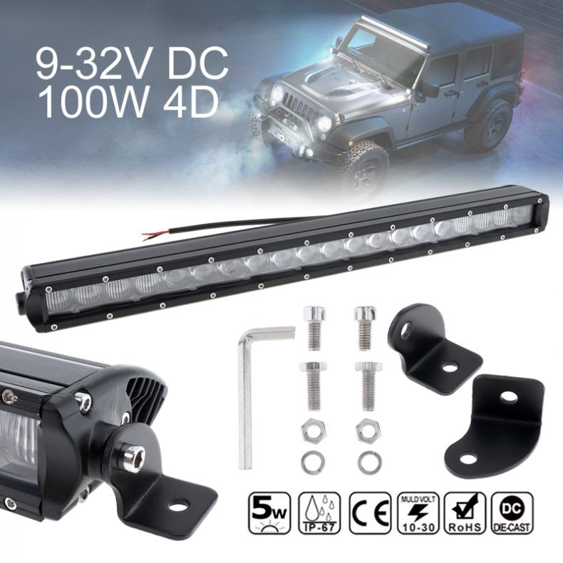 20 Inch 100W 10000 LM Car Straight LED Work Light Bar 20x4D Combo Offroad Light Driving Lamp for Truck SUV 4X4 4WD ATV 23 inch 240w atv led work light bar combo beam dc12v 24v suv utv pickup wagon 4wd driving lamp 4x4 offroad light bar