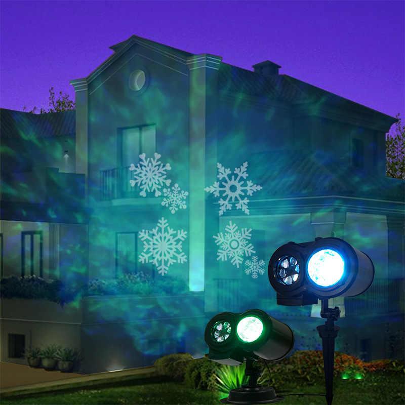 2w1 RGB zewnętrzna wodoodporna świąteczna lampa projektora 12 wzorów woda fala projektor Halloween lampa trawnikowa wystrój na święta bożego narodzenia