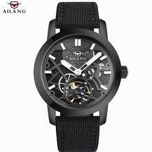 Hombres de la Marca de Lujo del Relogio masculino 2016 AILANG Hollow Esqueleto Reloj de Cuero Relojes Mecánicos Relojes Hombre Militar