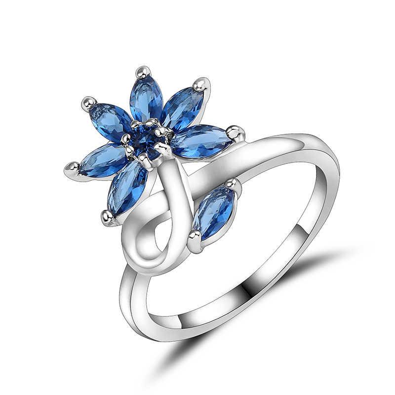 Kwiatowy pierścień z austriacką cyrkoniami srebrny pistolet czarne kolory dla kobiet pierścionki aneis feminino liście pierścień biżuteria anillos