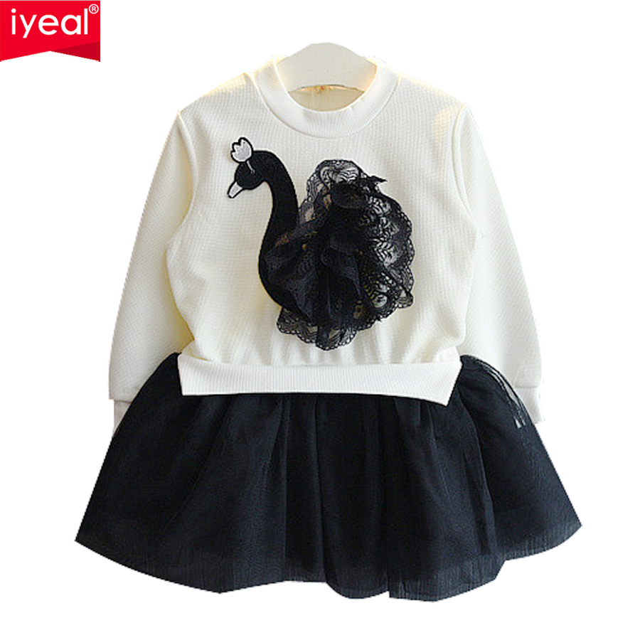 IYEAL New Girls Dresses 2018 Brand Princess Kids Baby Clothing Swan 3D Pattern Long-sleeve Party Dress For 2-7 Years Baby Girls 2 7y princess children girls white lace dress brand new long sleeve toddler kids elegant party dresses one pieces clothing