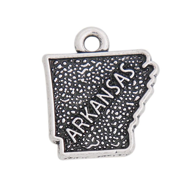 HAEQIS Antique Silver Color Fashion Alloy Vintage State Arkansas Map Charms 14*17mm AAC050
