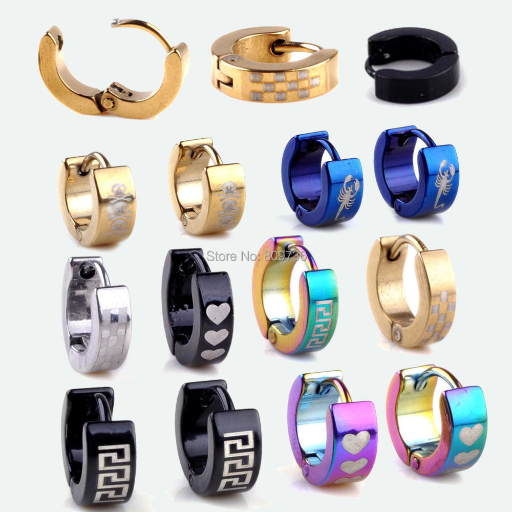 Hot 5pairs Cool Stainless Steel Ear Hoop Earrings Black Blue Silver Gold  Tone Men Women Jewelry