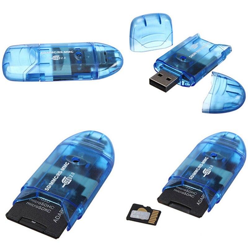 Многофункциональный USB 2,0 чтения карт памяти Писатель адаптер для SD MMC SDHC карты памяти до 64 ГБ разные цвета