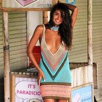 Sexy Beach Cover Up Bikini Crochet Knitted Bathing Suit Swimwear Summer Beach Wear Hollow Out Swimsuit Cover Up Beach Dress