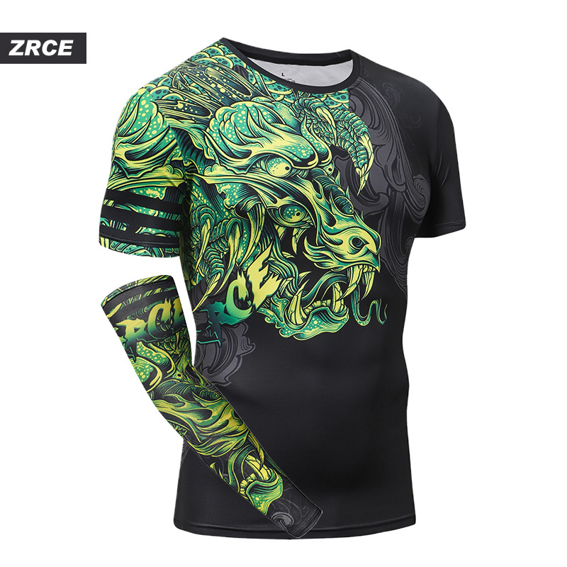 2019 ZRCE Brand Clothing 3D Printing Compression Shirts Chinese Dragon With Single Sleeve Fashion Fitness Hip Hop Men's T Shirt