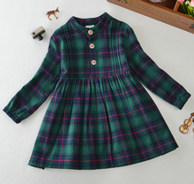 Autumn 2017 European Winter Dresses Casual Children Clothing Kids 2 3 To 8 9 10 12 Year Long Sleeve Black and Green Dress Girl