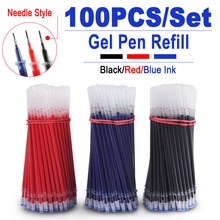 100PCS/Set 0.5mm Gel Pen Refill Needle tip Office Signature Rods For Handles Red Blue Black Ink Office School Students Supplies 0 5mm 30pcs lot gel pen refill needle tip and 3pcs gel pen suit office signature rods for handles office school supplies