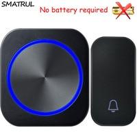 SMATRUL Self Powered Waterproof Wireless DoorBell Night Light No Battery EU Plug Home Cordless Door Bell