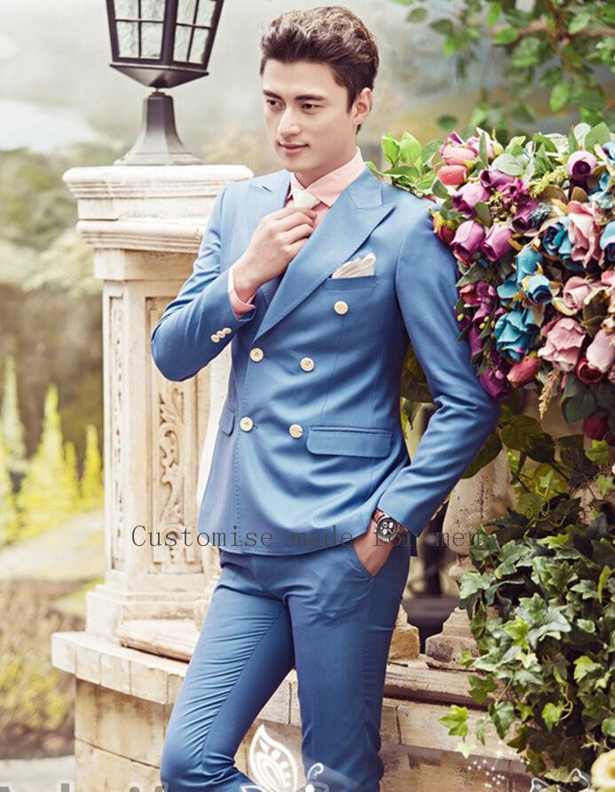 Side Vent Double Breasted Groom Suits Groomsman Men Handsome tuxedos ...