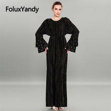Embroidered Flares Long Dress Women Muslim Vestidos Plus Size Vintage Flare Sleeve Pleated Black Pink CMC1925