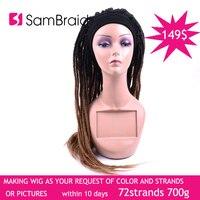 Дредлоки ручной работы Плетение волос Парик Синтетический дредс шапка 22 дюйма регги волос шляпа 72 Подставки/700 г может быть настроен