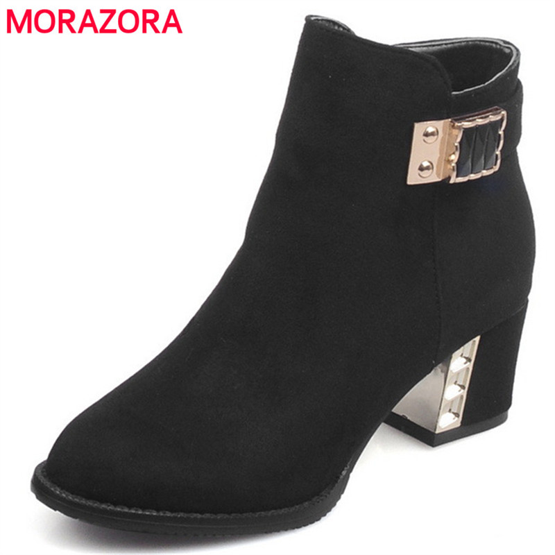 MORAZORA PU nubuck leather high heels shoes woman fashion ankle boots solid zip round toe womens boots big size 34-44 winter 2014 british round solid leather thick follow with frosted leather ladies nubuck leather ankle boots