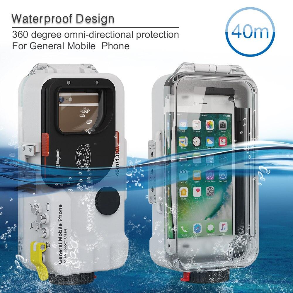 Fonds marins universel Bluetooth boîtier de téléphone portable boîtier sous-marin 40 m photographie pour iPhone Huawei Samsung Xiaomi Smartphone - 5