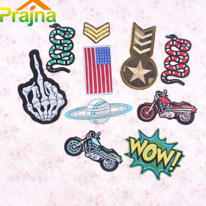 1PCS Alien Space Military Army Patch Badge Iron On Logo Star Patch Biker Cheap Embroidered Sewing Rock Patches For Kids Clothes