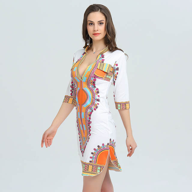 b40c1cf52 3XL talla grande al por mayor ropa Africana Dashiki vestido para mujer  Casual verano Hippie impresión Dashiki tela mujer Boho bata Mujer