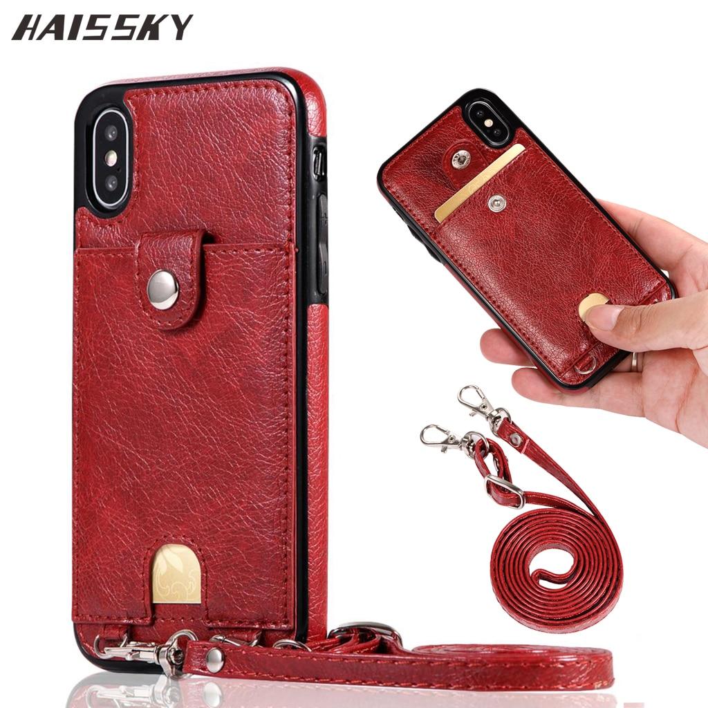 Роскошный кожаный чехол-кошелек с держателем для карт для iPhone 7 8 Plus XR задняя крышка чехол для телефона сумка на плечо для iPhone X XS Max 6 6s Plus