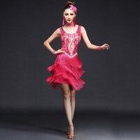 2019 New Sexy Unequal Women Girls Sequin Fringe Tassel Skirt Plus Size M XXL Ladies Latin Tango Ballroom Salsa Dance Dress