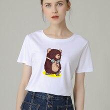 Fashion Women T-Shirt Big Plus Size Tshirt Femme Print Cute Bear T Shirt Top White Female Tops Short Tee Shirt Funny Girl bear print top