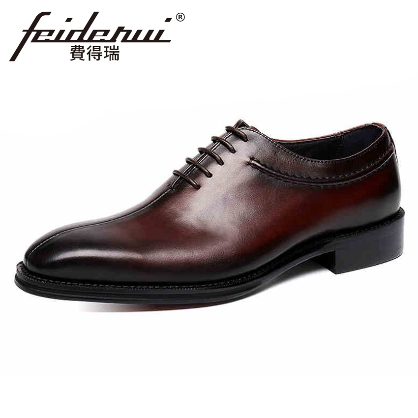все цены на 2018 New Vintage British Designer Genuine Leather Men's Handmade Oxfords Round Toe Man Formal Dress Wedding Party Shoes YMX324 онлайн