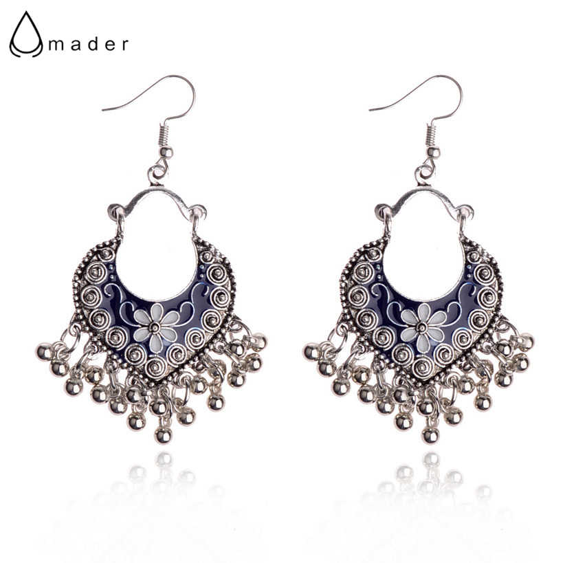 Amader Ethnic Chinese Style Flowers Shape Blue Ladies Earrings Fashion Jewelry Summer Earrings For Women Boucles D'oreilles
