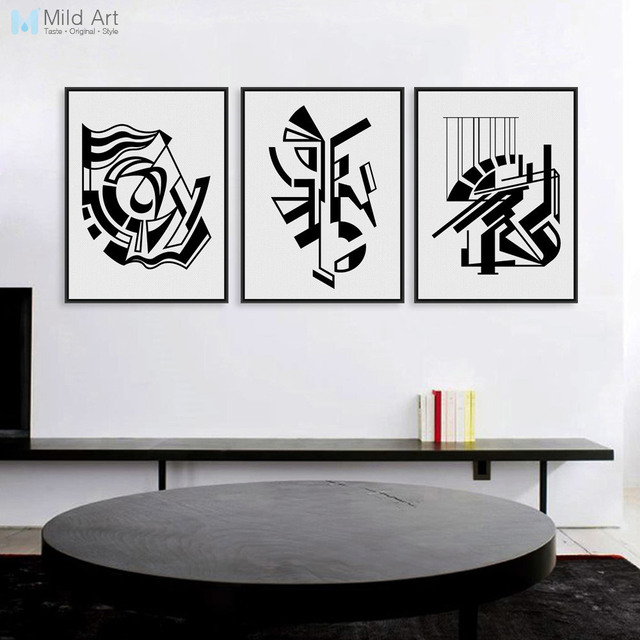 Minimalist nordic black white symbol a4 art prints poster abstract living room wall picture canvas painting