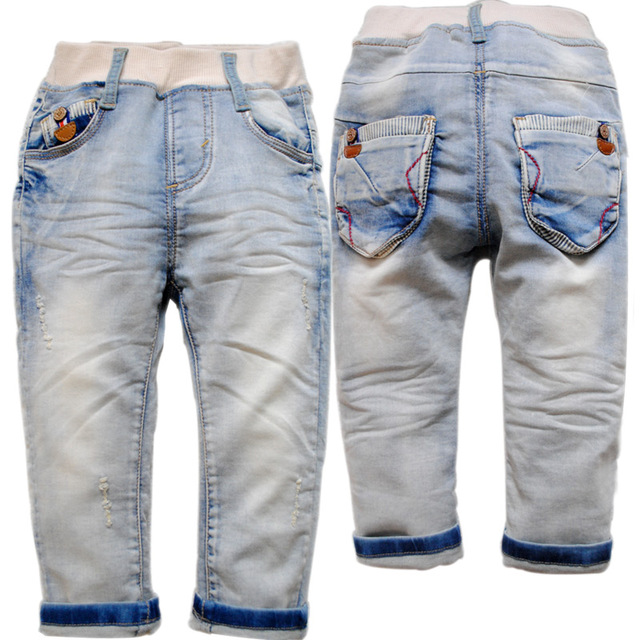 3864 baby boys jeans  baby boys pants  spring or autumn trousers kids jeans  children's  soft  denim  light  blue  2016 new