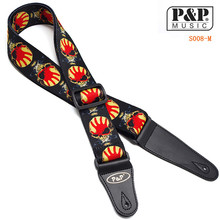 P&P High Quality Jacquard Guitar Strap with Leather Ends Adjustable Buckle Electric Guitar Acoustic Strap Red Flame PrintS008 MR