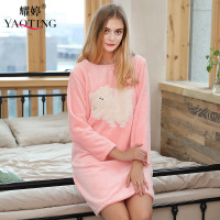 Flannel women nightgown o neck long sleeve thermal flannel loung dress home dress