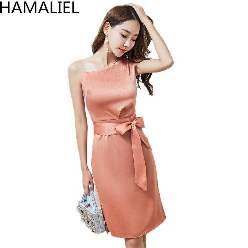 HAMALIEL mujeres Sexy un hombro vaina vestido 2018 moda verano chaleco naranja Bodycon Slim señoras lápiz trabajo vestido con cinturón