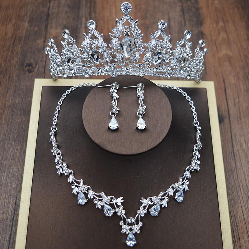 Design de moda de Cristal de Noiva 3 pcs Clipe Brincos Colar Tiaras Coroas Nupciais Do Casamento Conjunto de Joias acessorios